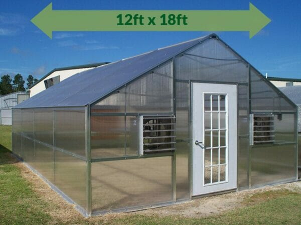 Riverstone Industries (RSI) 12ft x 18ft Thoreau Premium Educational Greenhouse  R12186-P(G) - full view - green arrow on top with dimensions