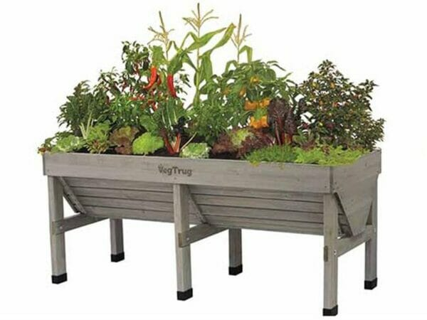Medium Grey Wash Colored VegTrug with plants