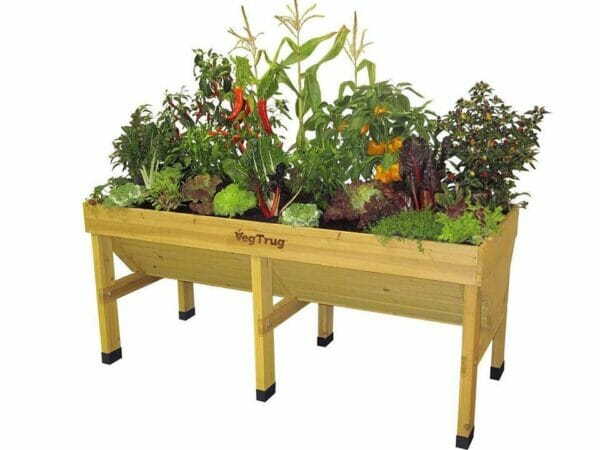 Medium Natural Wood colored VegTrug with plants