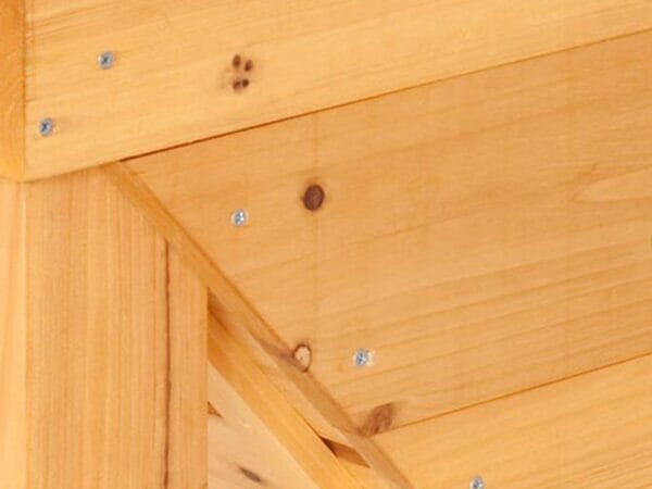 Screws fastened into the wood