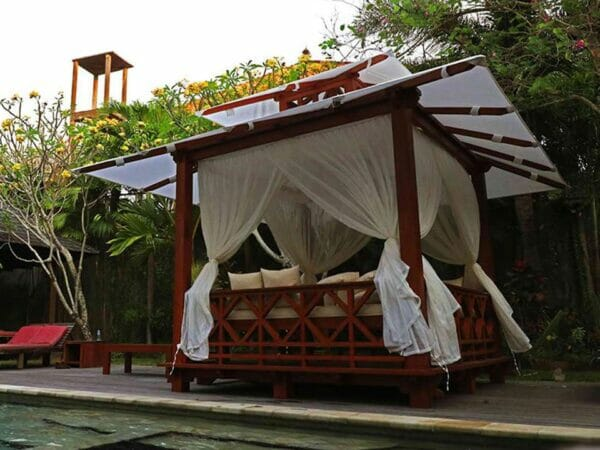 Side view of Handcrafted Balinese Solid Wood Gazebo