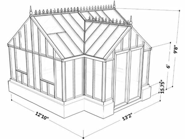 Drawing of the EOS Antique Orangerie sitting on a stem wall with dimensions