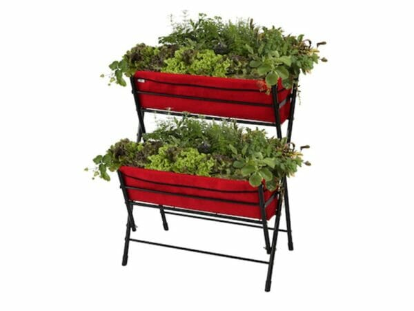 Red Poppy Go Two Tier with plants