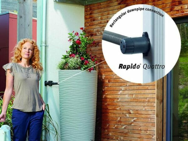 The Rectangular downpipe connection of Wave Barrel & Planter