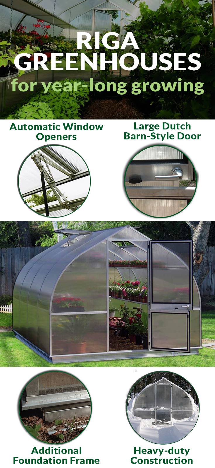 Graphic showing the inside and outside of the Riga Greenhouse Kit from Hoklartherm with little round images about the features.