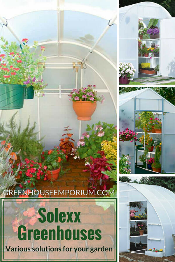 Displaying four different Solexx Greenhouse styles (A-shape, hoop and lean-to with text saying: Solexx Greenhouses - Various solutions for your garden