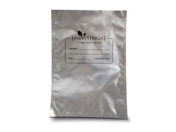 Harvest Right 8x12 mylar bag with aluminum colored coating