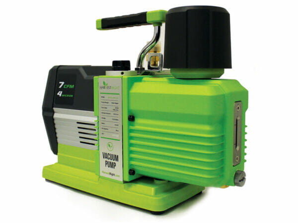 Green and Black Harvest Right Premier Vacuum Pump from a side angle with white background