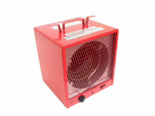 DrHeater infrared electric heater, red body, front and side view