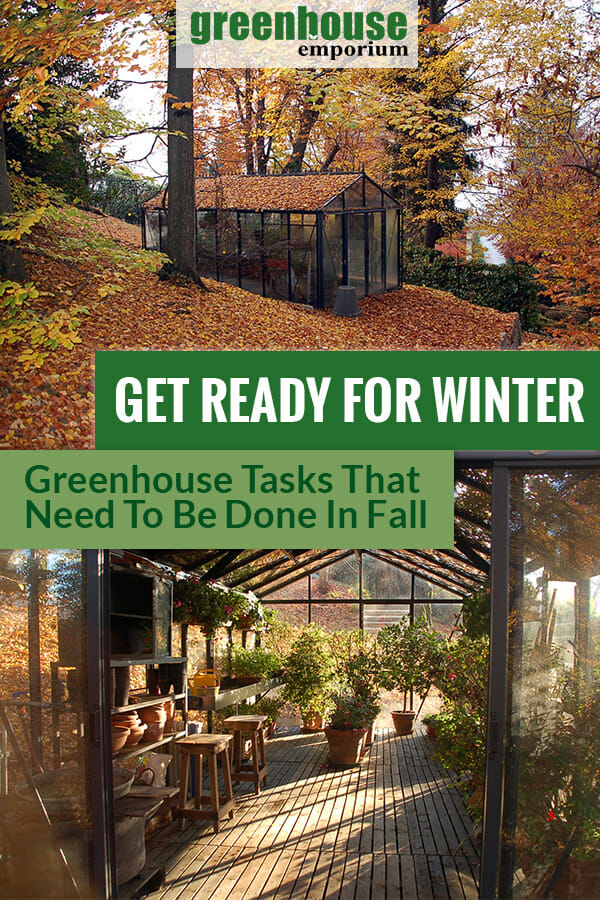 Greenhouses in fall from outside and inside with the text: Get ready for winter - Greenhouse tasks that need to be done in fall