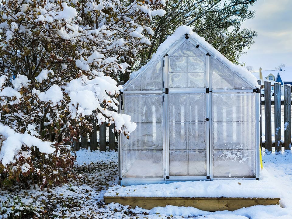 Greenhouse in winter with a little bit of snow around