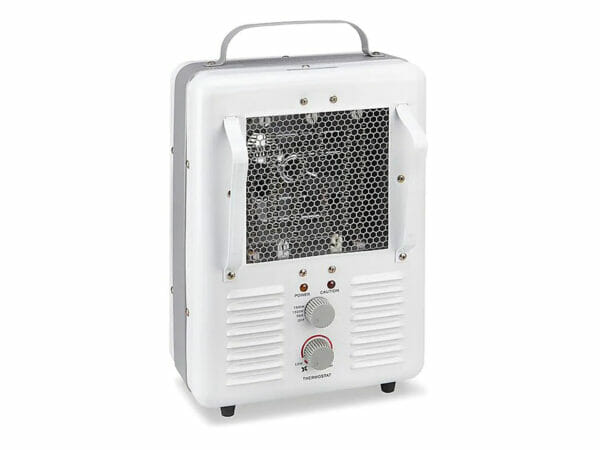 Portable Electric Milkhouse Heater with white chassis on white background