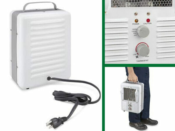 On left Milkhouse heater rear view with electrical cord, top right heater fan and temperature control knobs, bottom right man carrying heater