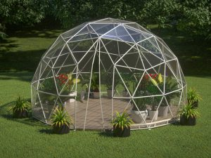 Lumen & Forge 20ft geodesic dome, zippered door open, front view, on lawn setting