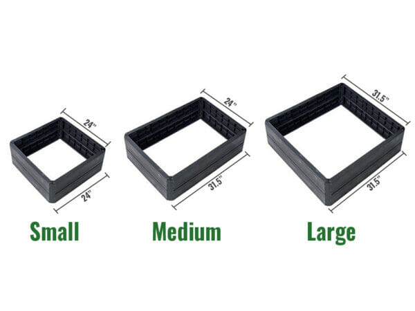 Single module images of the three available sizes of the Ergo Quadro Raised Bed Planters