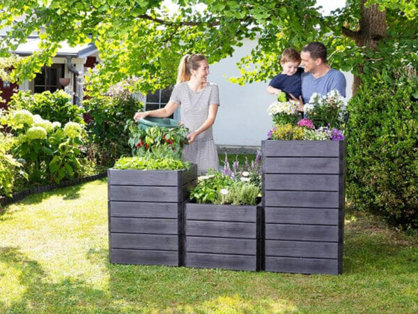 Ergo Quadro Raised Bed Planters Garden Starter Kit (3x different heights of raised beds) in a garden